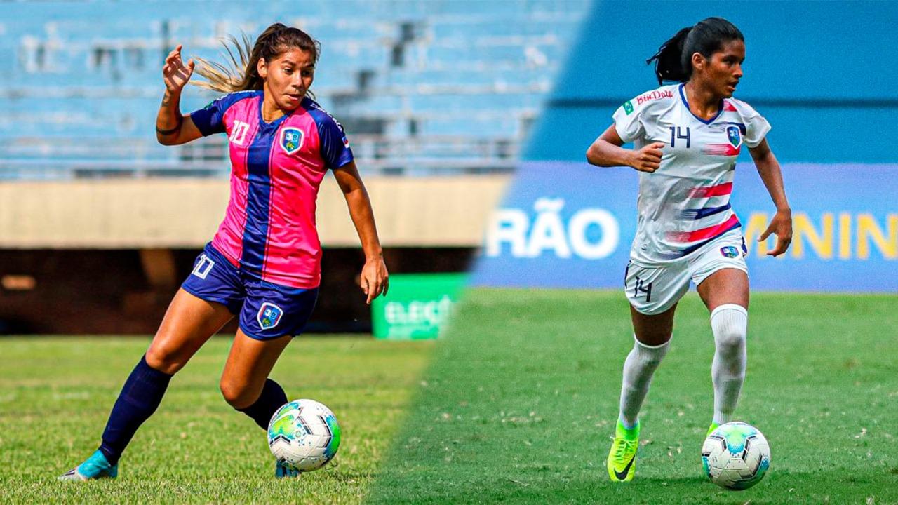 Mayara Vaz e atacante Marília